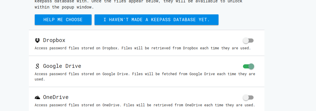 Selecting 'Google Drive' in 'Manage Databases' does not work