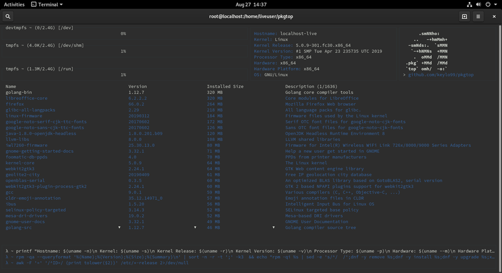 Fedora Screenshot