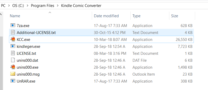 KCC don't see exe files in it's directory · Issue #282