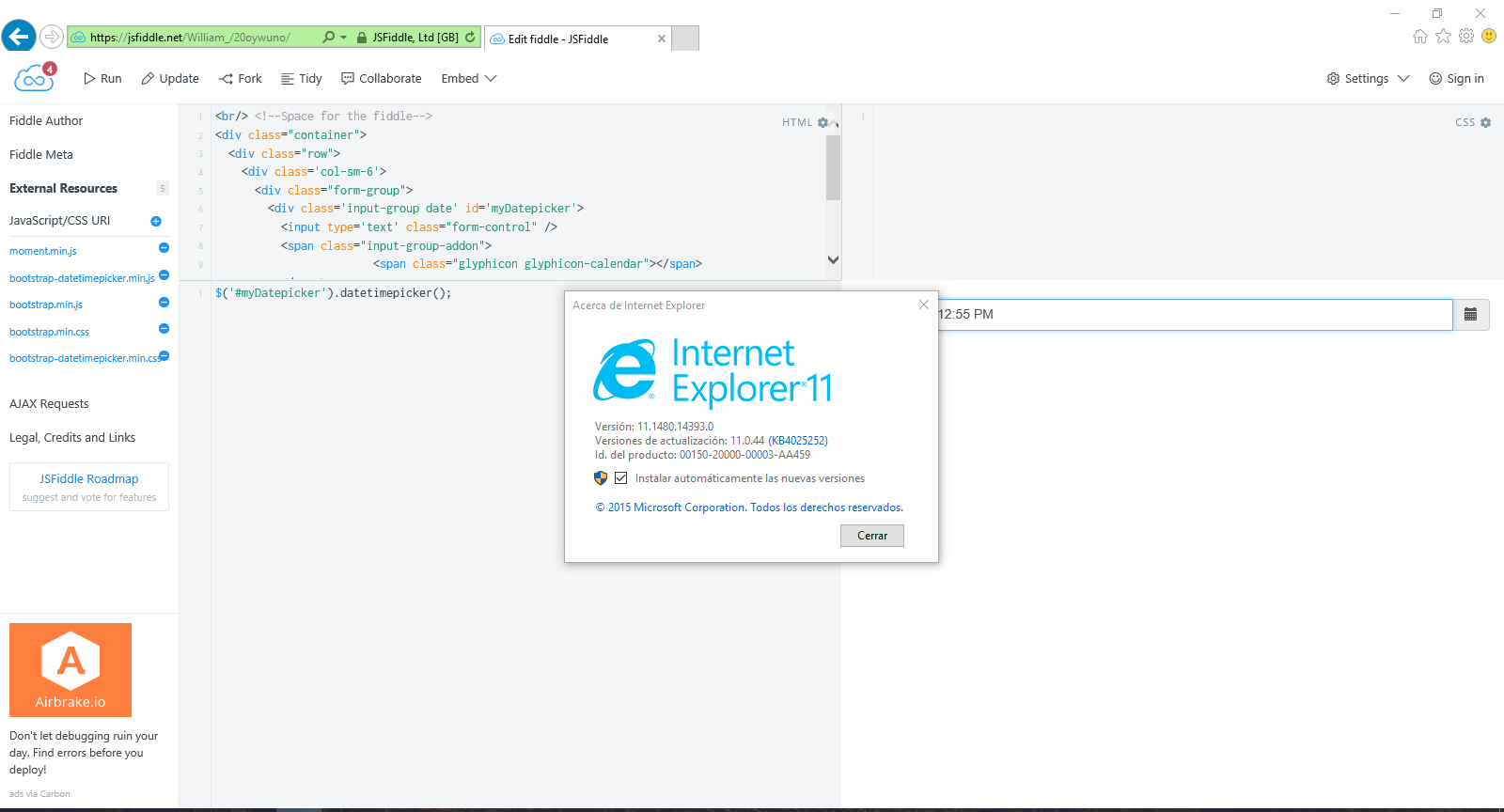 Date Time Picker not working in IE 11  · Issue #1669