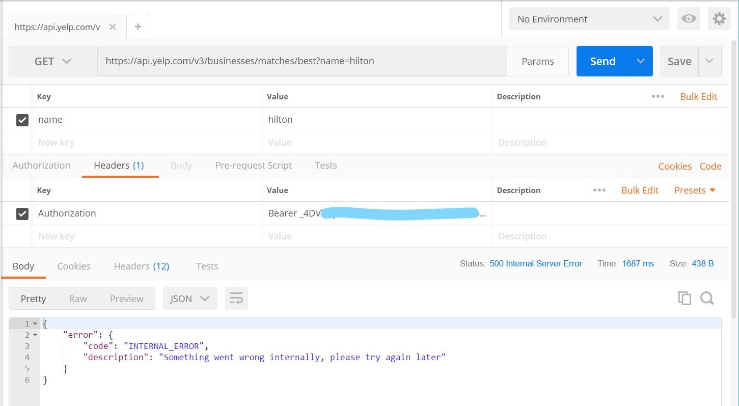 Internal Error for GET request on business match API but not
