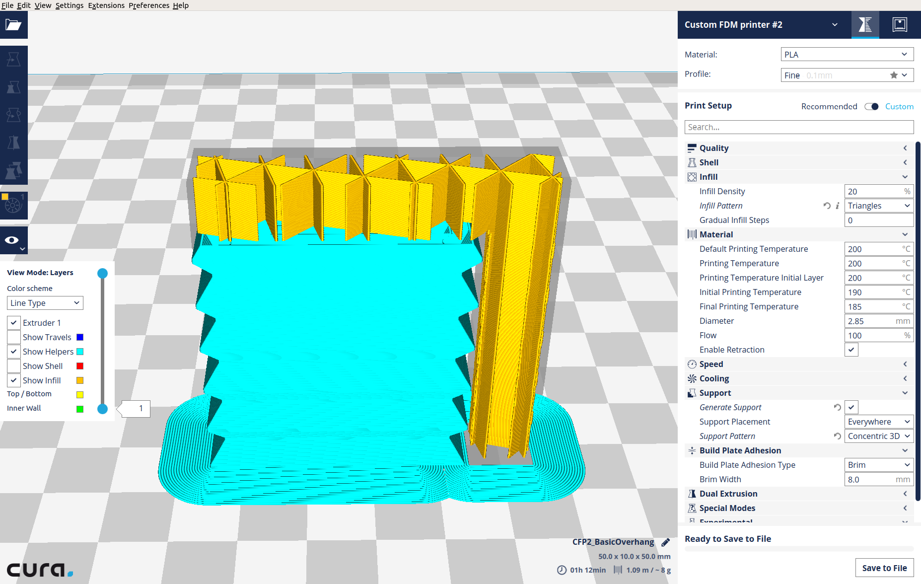 Cura 2 6 infill and support do not change from the default