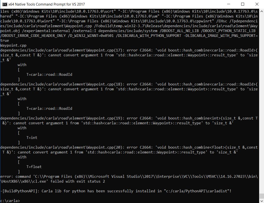 PythonAPI make error on windows10 · Issue #2082 · carla