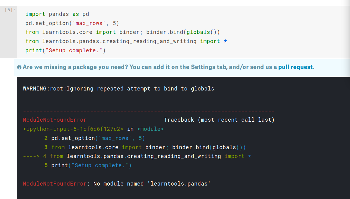 Import Error in Pandas course · Issue #39 · Kaggle