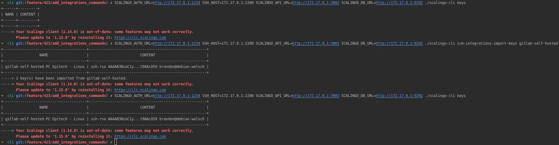 import ssh keys from scm integration