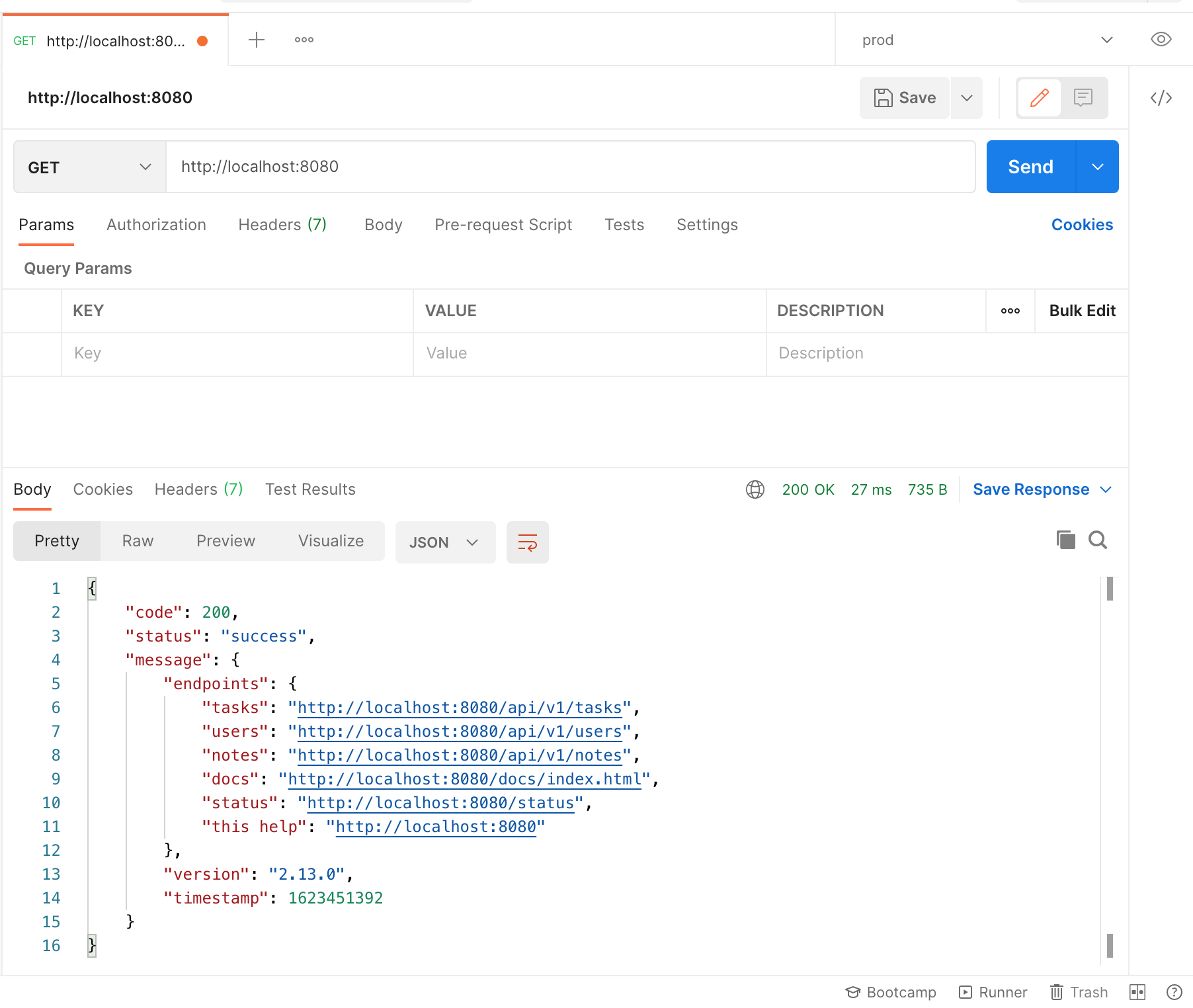 Screen Shot API using Postman