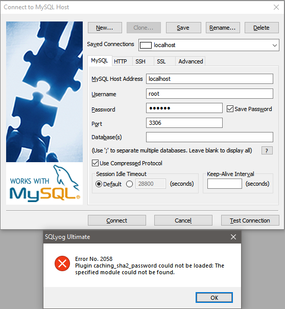 Unable to connect to MySQL 8 0 4 · Issue #2164 · webyog