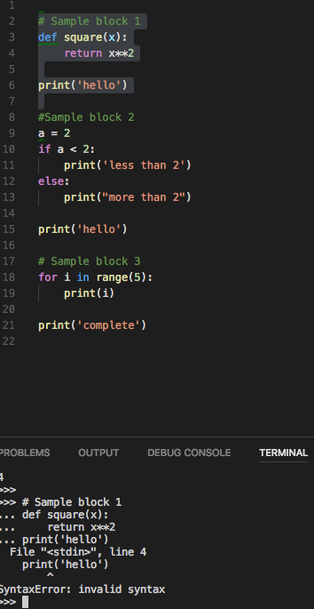 Run Selection/Line in Python Terminal gives syntax errors
