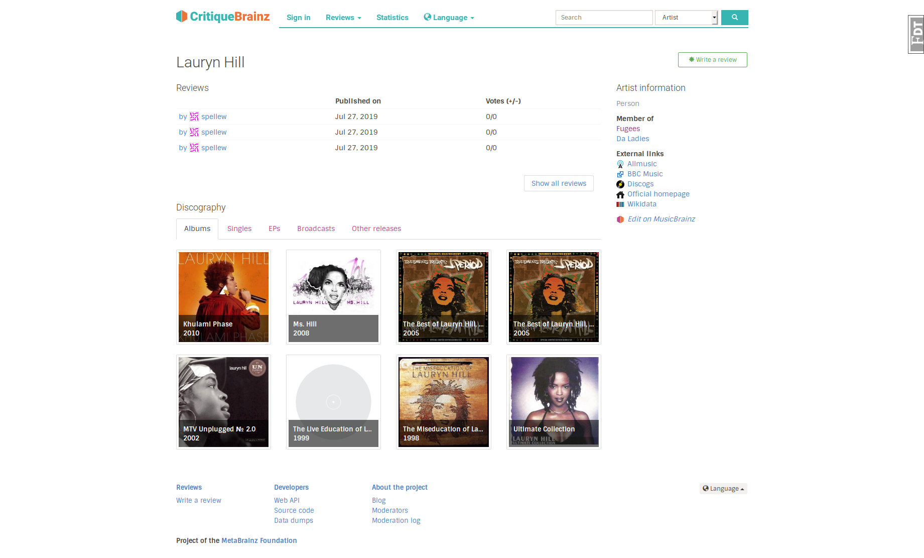 Screenshot_2019-07-27 Lauryn Hill - CritiqueBrainz
