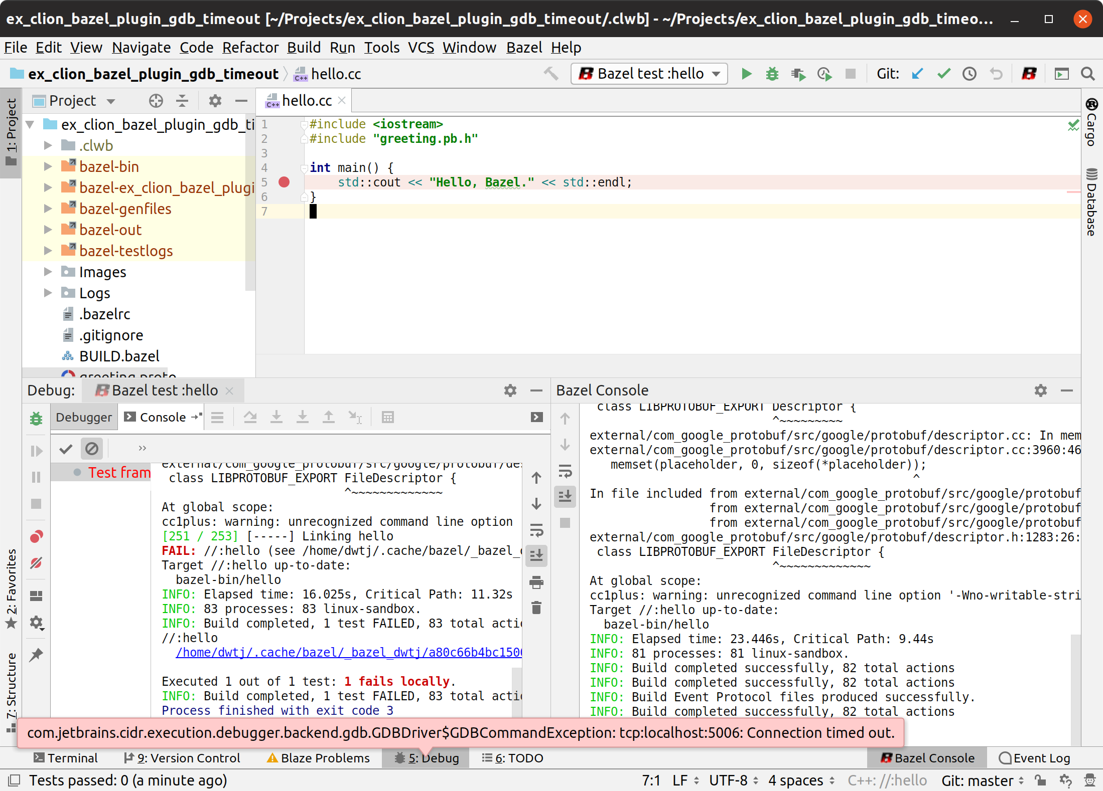 Cannot Debug in CLion on Ubuntu: GDB gives timeout error
