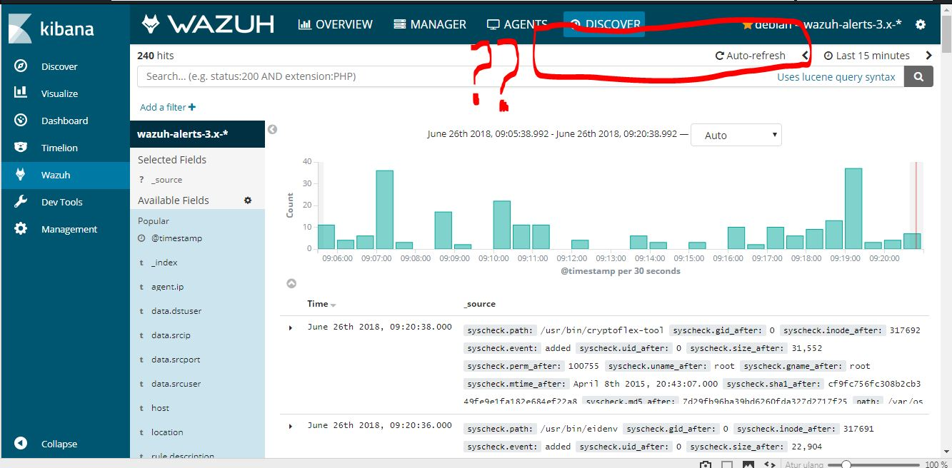 Where is the selected fields save button in Wazuh kibana app