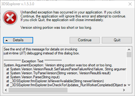 I get this error while running the  exe · Issue #5 · d0k3/3DS-Tools