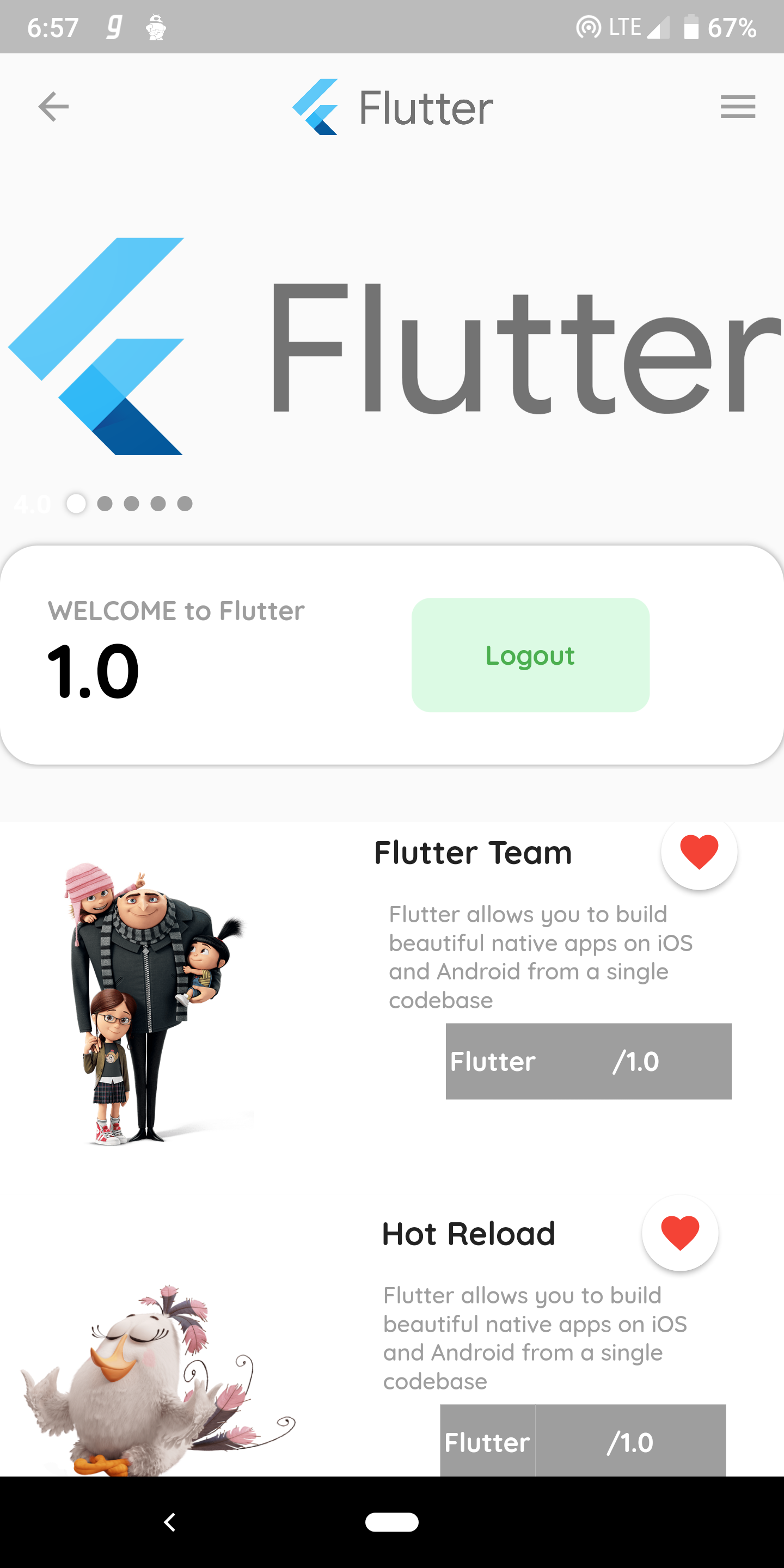 Flutter UI with different widgets and firebase authentication email