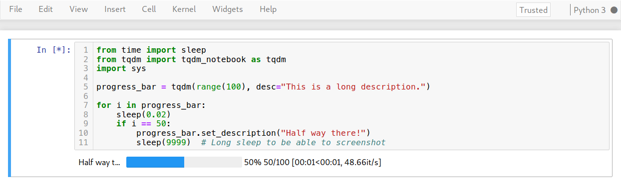 Description text cut off (e g  'my sample t   ') · Issue