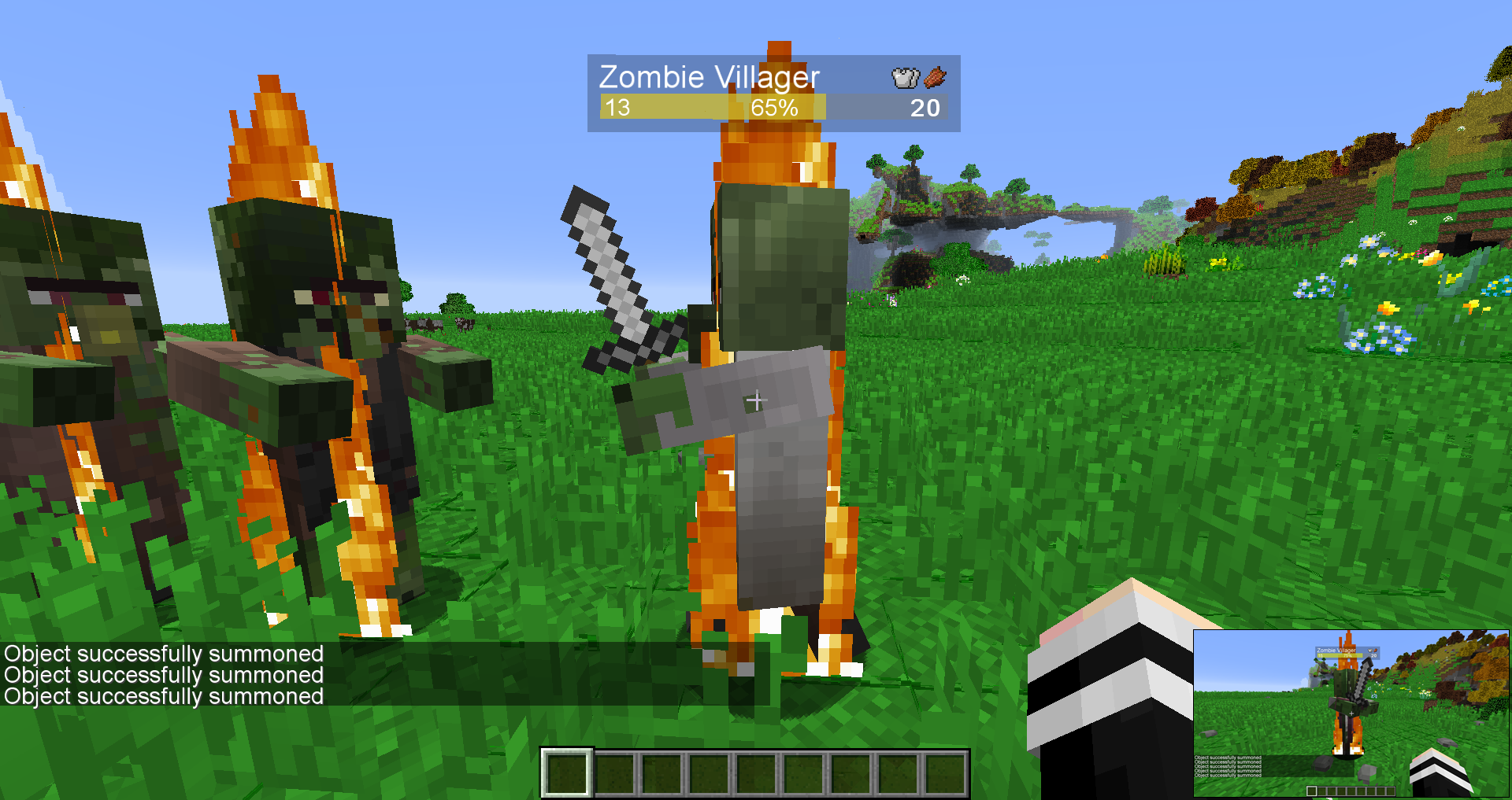 Zombie Villagers can spawn in with iron weapons in stage 0