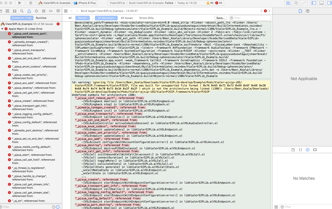 Linker command failed on example app · Issue #127 · VoIPGRID