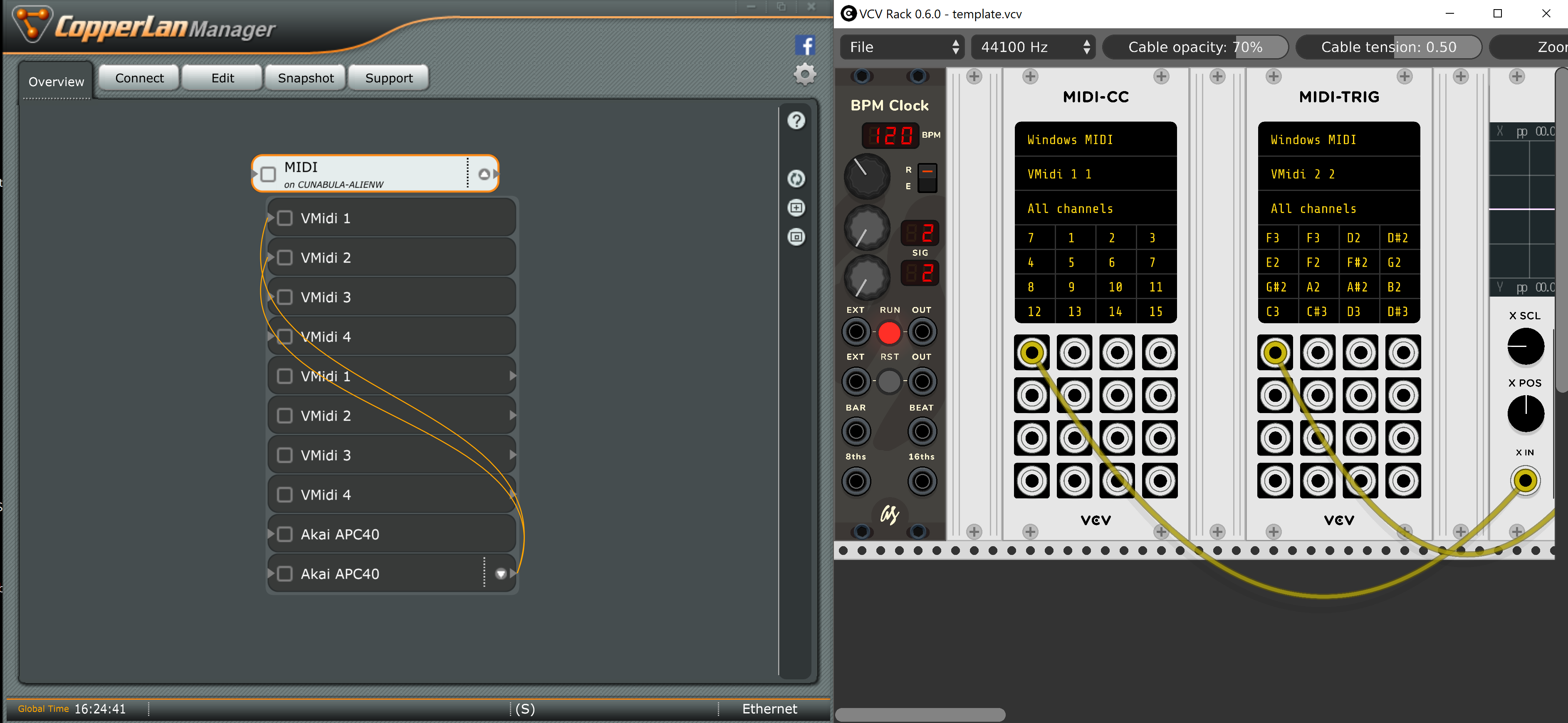 Using any two midi listening modules on the same device causes VCV