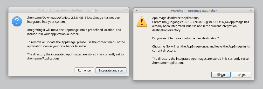 Simplify dialog boxes and add