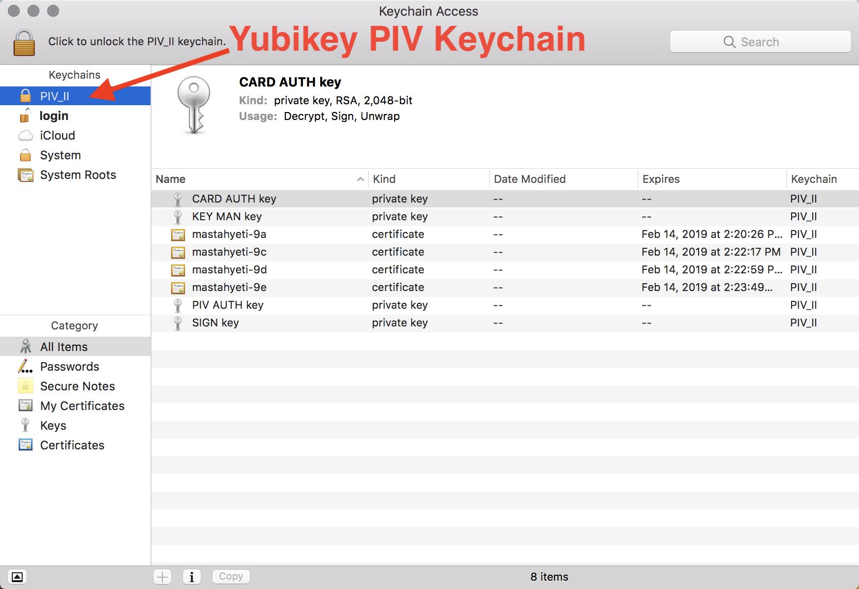 Yubikey PIV Keychain in macOS Keychain Access app
