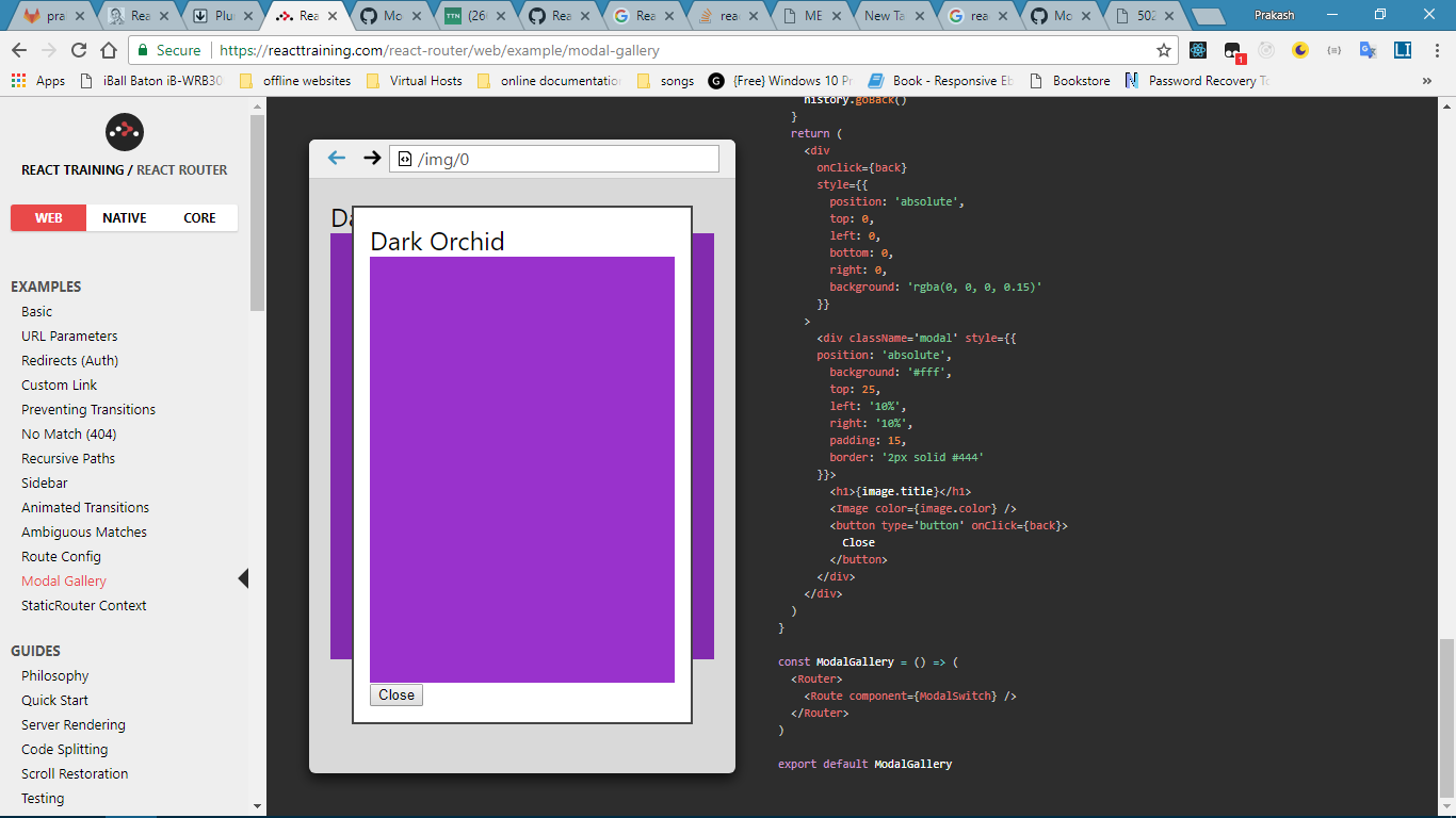 react router v4 shows same component in modal as well as in