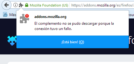 Can't download web-extensions (add-ons) due to a connection failure
