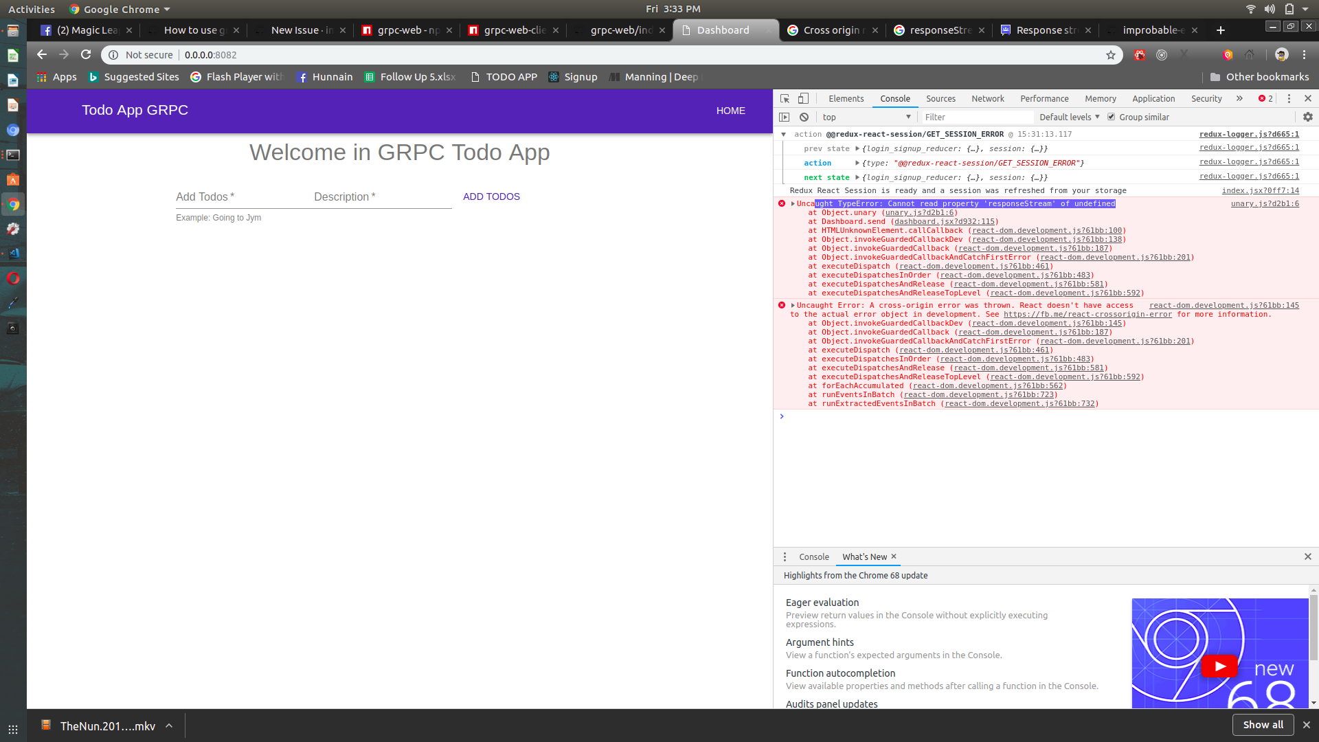 In grpc unary the browser error shoe responsestream is not