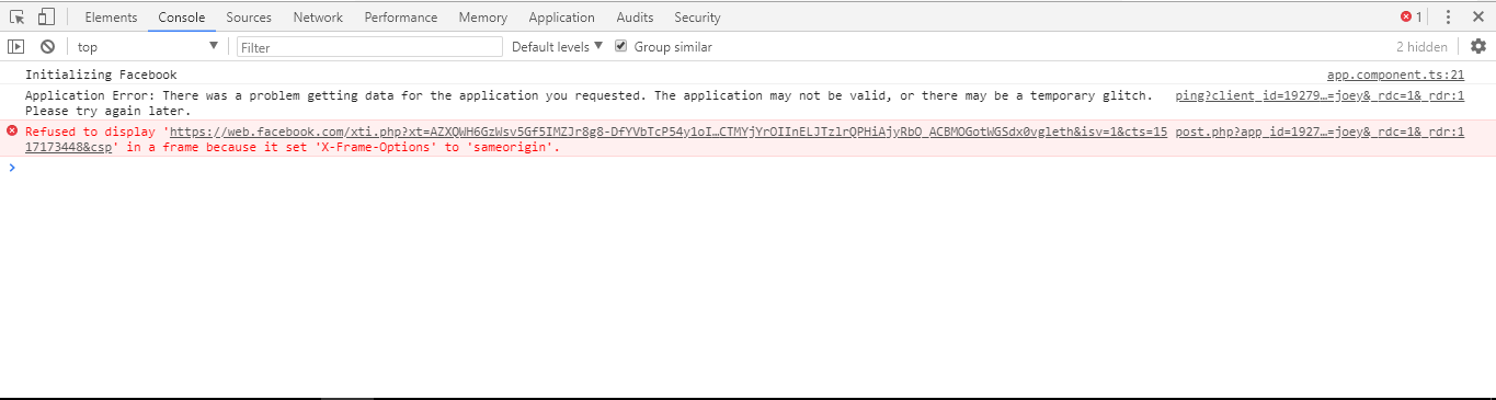Refused to display \'https://web.facebook.com/xti.php?(etc..) \' in a ...