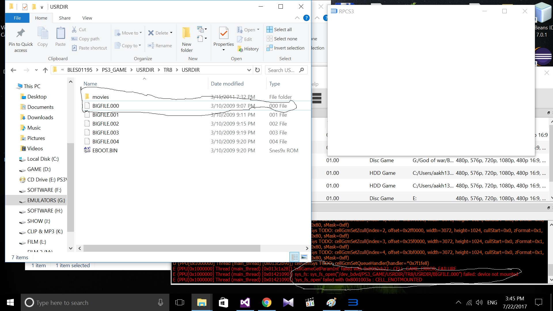 PARAM SFO not found when booting from a disc with several