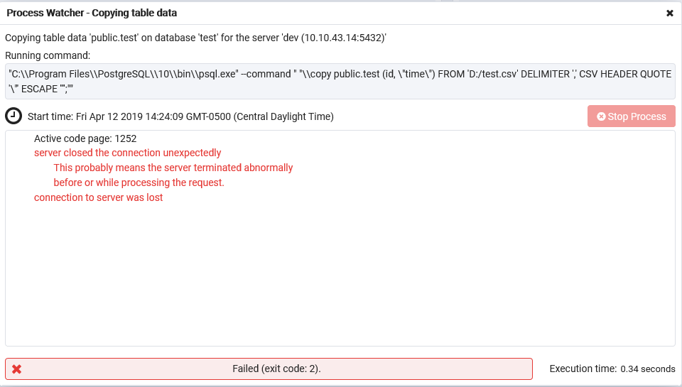 Server segfaults during COPY command of csv data · Issue