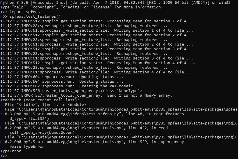 spfeas test_features() error  ReadAsArray() doesn't return