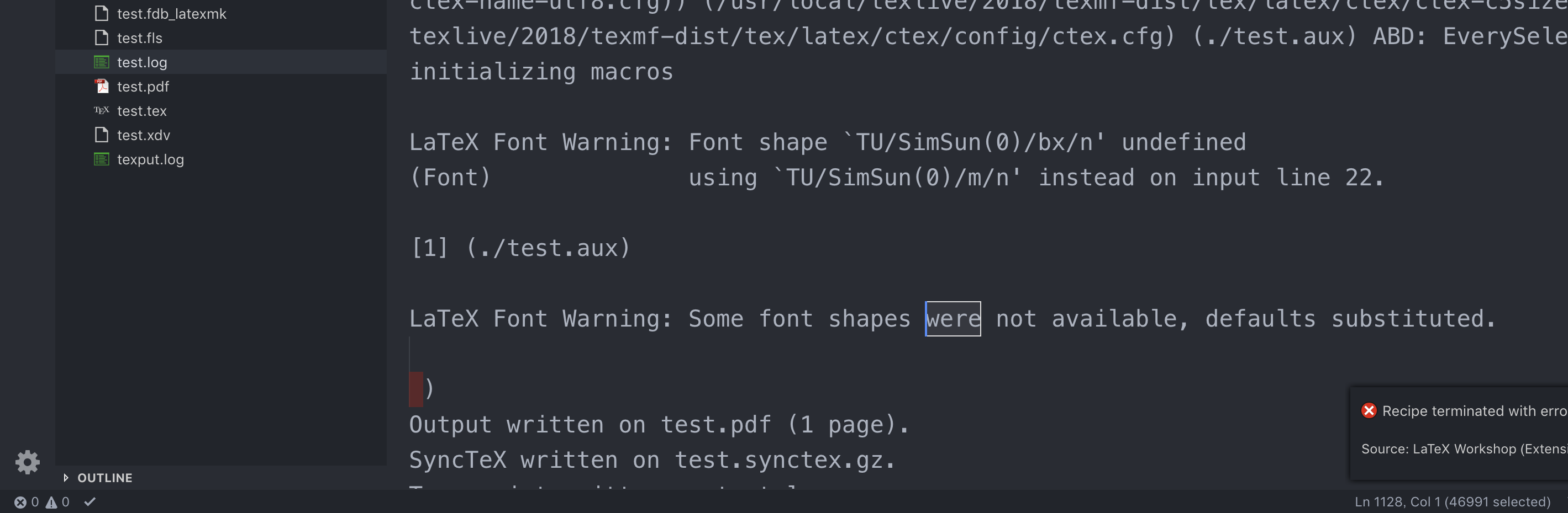LaTeX Font Warning was not displayed in the problem pane
