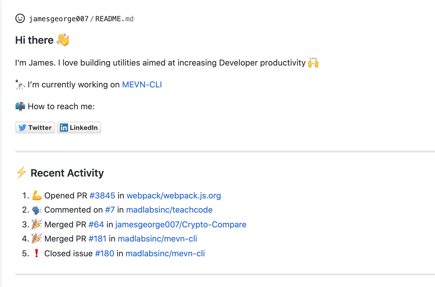 GitHub Activity in Readme