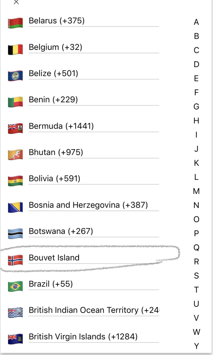 Missing calling code for Bouvet Island  · Issue #138