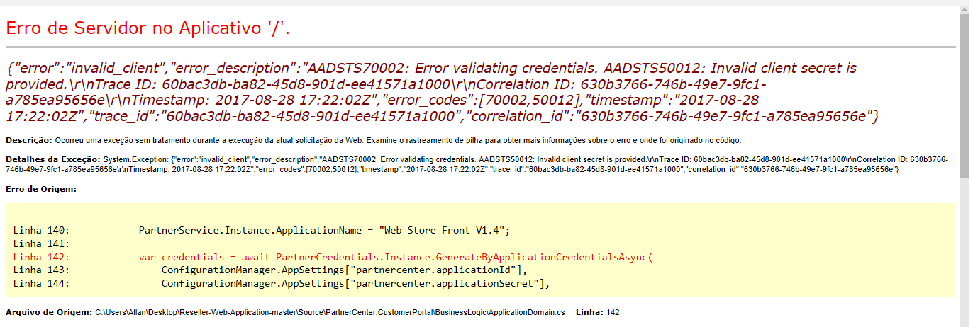 Error validating application