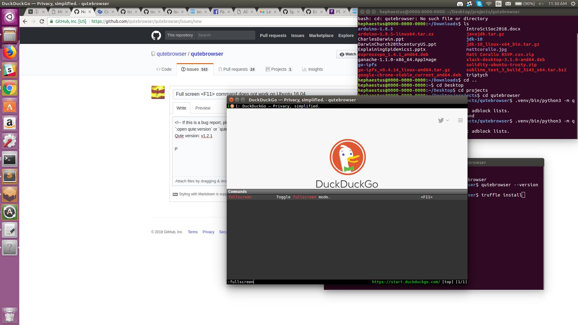 Full screen <F11> command does not work on Ubuntu 16 04 · Issue