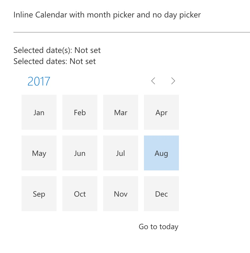 Calendar: Navigation arrows not working when month picker only