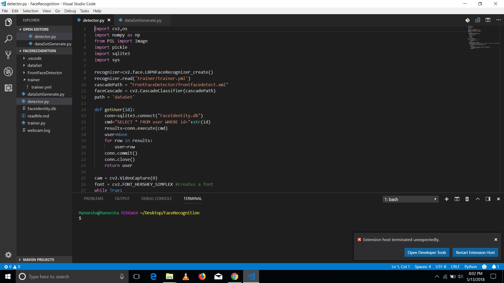 Extension Host Terminated · Issue #1681 · microsoft/vscode