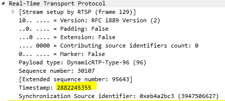 Need the RTP/NTP time stamps provided in the RTP packets of
