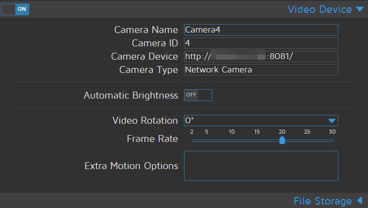 Movie recording of remote (Fastcamera) MotioneyeOS Cam isn't