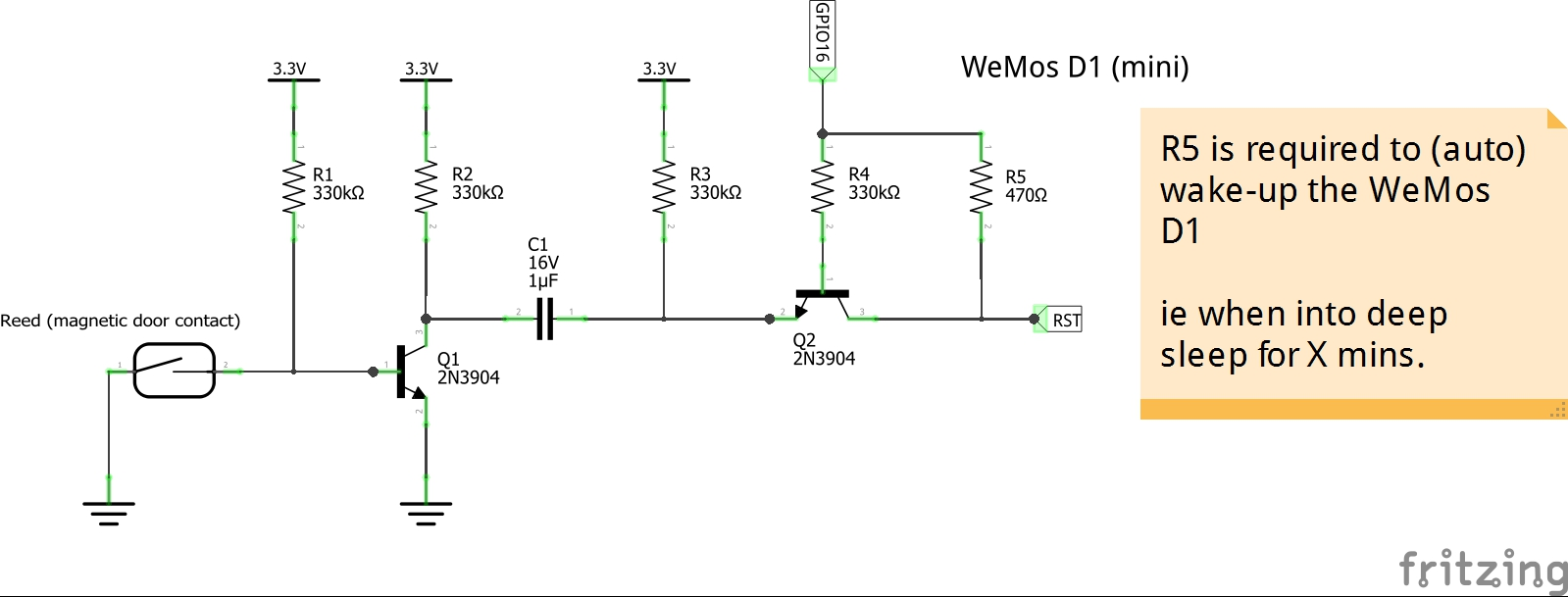 Working on external interrupt (wake-up) with WeMos D1 - Everything