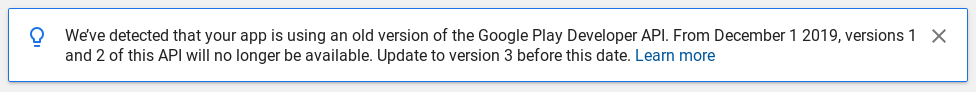 Detected that the app is using an old version of the Google