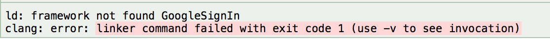 framework not found GoogleSignIn
