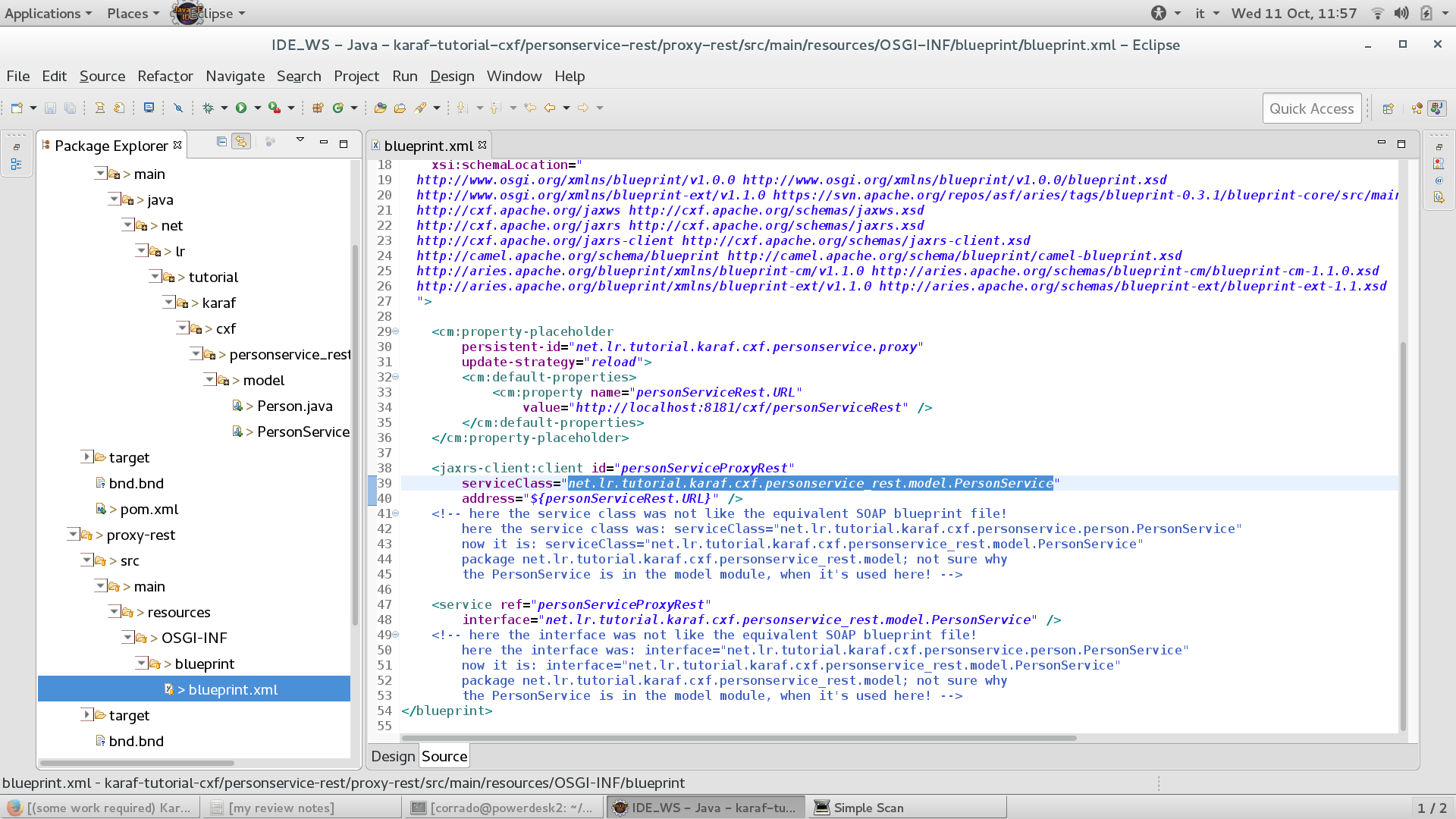 Some work required karaf tutorial part 4 cxf services in osgi 06 why the service is in the model malvernweather Images