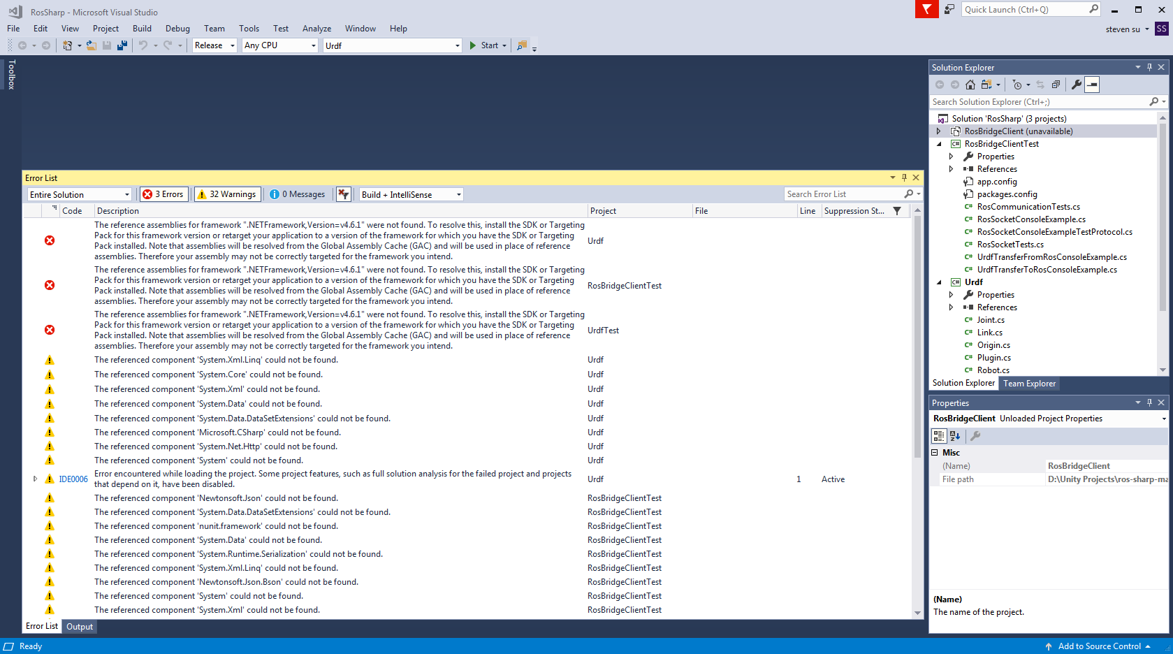Can't build RosSharp sln in Visual Studio successfully when