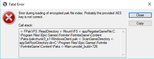 Need help: Getting AES key fatal error when loading in