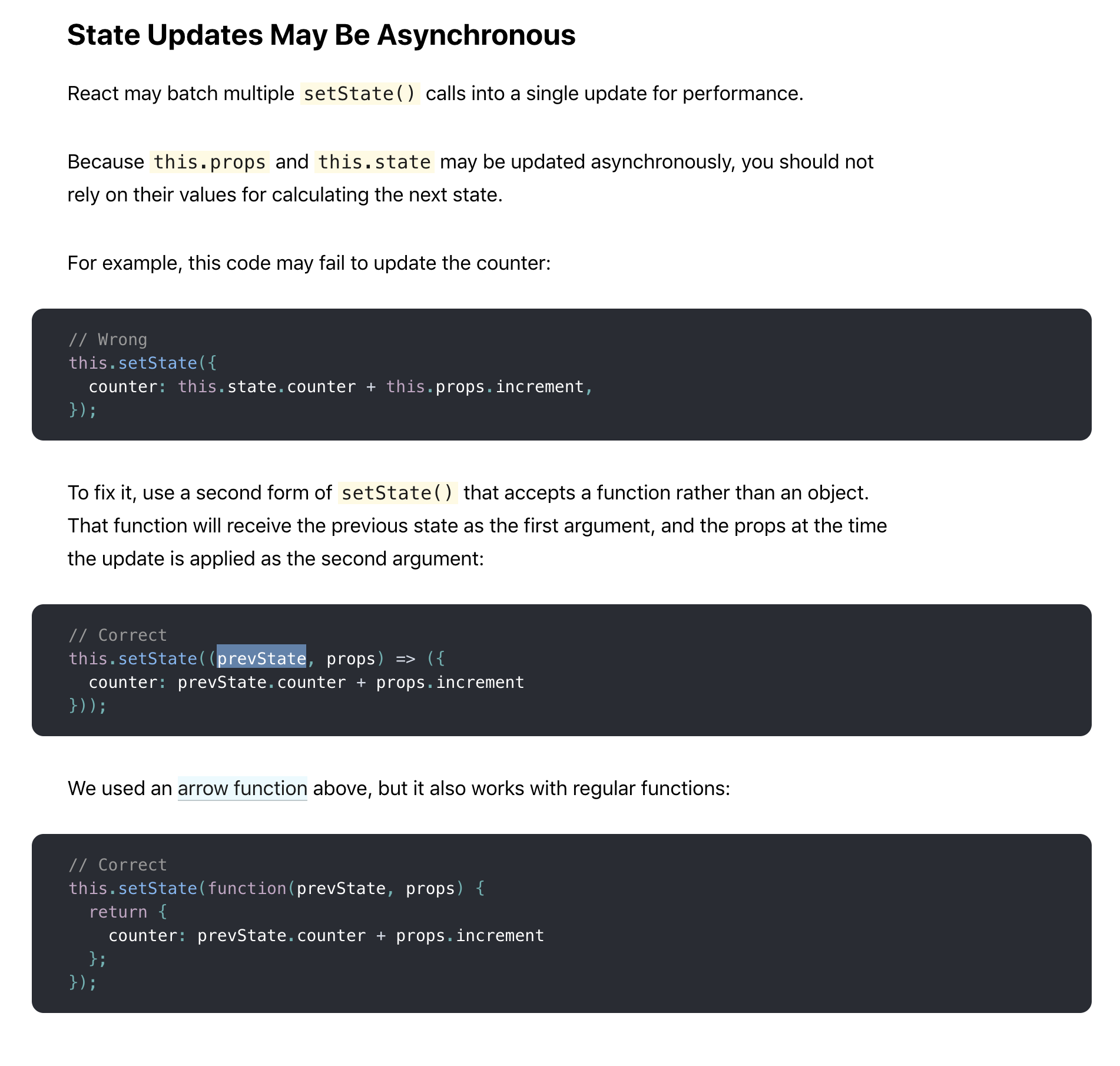 Name of the first argument of the setState() updater