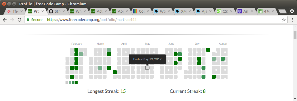 Heat map shows only the first 8 months on freeCodeCamp (public