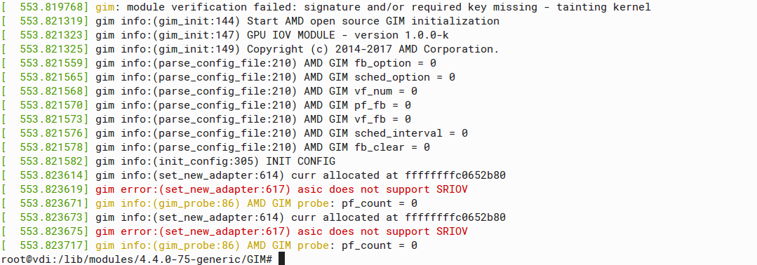 gim error:(set_new_adapter:617) asic does not support SRIOV