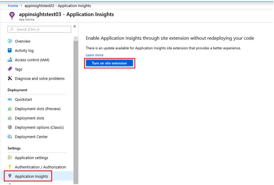 How to turn on application insights extension with