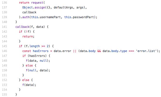 NodeJS crash with TypeError: Cannot read property 'error' of